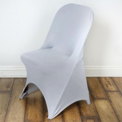 Stretch stoelhoes zilver voor stoel met rechte bovenkant