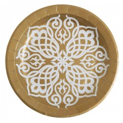 Pak met 10 kartonnen bordjes Oriental goud