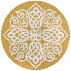 Pak met 6 kartonnen placemats met een doorsnede van 34 cm Oriental goud