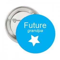 Button Blue met witte ster en tekst
