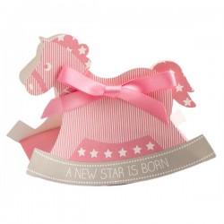 Aandoenlijk kartonnen geschenkdoosjes in de vorm van een hobbelpaard roze
