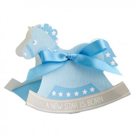 Aandoenlijk kartonnen geschenkdoosjes in de vorm van een hobbelpaard blauw