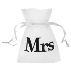 Pak met 10 organza zakjes wit met treksluiting met in zwart de opdruk Mrs