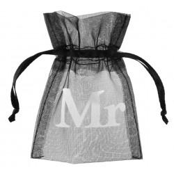 Pak met 10 organza zakjes zwart met treksluiting met in wit de opdruk Mr