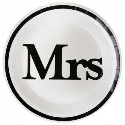 Pak met 10 witte kartonnen bordjes met de tekst Mrs