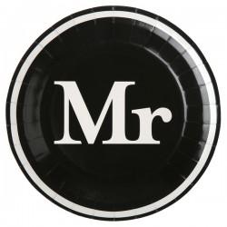 Pak met 10 zwarte kartonnen bordjes met de tekst Mr