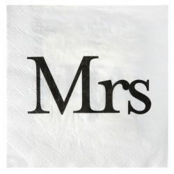 Pak met 20 witte servetten met de tekst Mrs