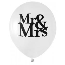 Pak met 8 ballonnen met in zwart de opdruk Mr & Mrs
