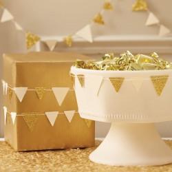 Goud en ivoorkleurige driehoekjes vlaggenlijn Metallic Perfection Gold and Ivory