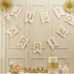 Just Married letterslinger Metallic Perfection Ivory and Gold