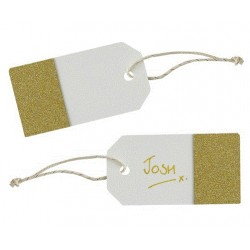 Pak met 10 luggage tags Metallic Perfection Ivory and Gold