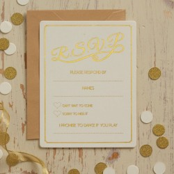 Pak met 10 RSVP cards Metallic Perfection Ivory and Gold