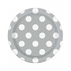 Bordjes zilver met witte stippen 8 stuks met een doorsnede van 18 cm