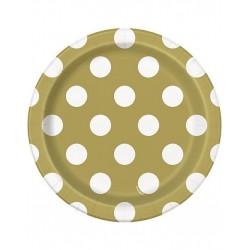 Bordjes goud met witte stippen 8 stuks met een doorsnede van 18 cm