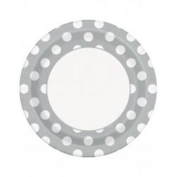 Bordjes wit met zilver met witte stippen 8 stuks met een doorsnede van 23 cm