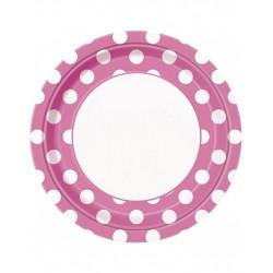 Bordjes wit met roze met witte stippen 8 stuks met een doorsnede van 23 cm