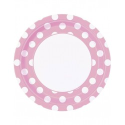 Bordjes wit met licht roze met witte stippen 8 stuks met een doorsnede van 23 cm