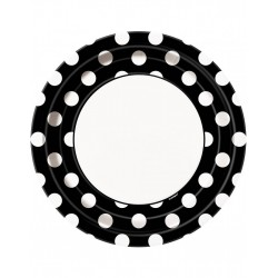 Bordjes wit met zwart met witte stippen 8 stuks met een doorsnede van 23 cm