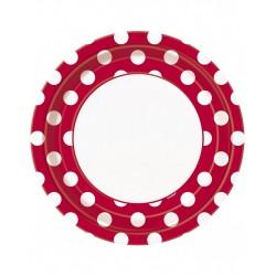 Bordjes wit met rood met witte stippen 8 stuks met een doorsnede van 23 cm
