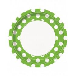 Bordjes wit met groen met witte stippen 8 stuks met een doorsnede van 23 cm