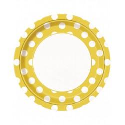 Bordjes wit met geel met witte stippen 8 stuks met een doorsnede van 23 cm