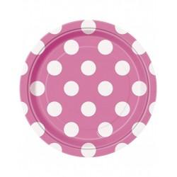 Bordjes roze met witte stippen 8 stuks met een doorsnede van 18 cm