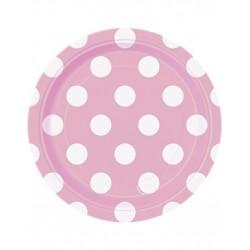 Bordjes licht roze met witte stippen 8 stuks met een doorsnede van 18 cm