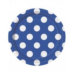 Bordjes blauw met witte stippen 8 stuks met een doorsnede van 18 cm