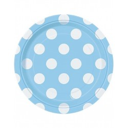 Bordjes licht blauw met witte stippen 8 stuks met een doorsnede van 18 cm