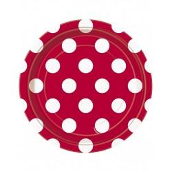 Bordjes rood met witte stippen 8 stuks met een doorsnede van 18 cm