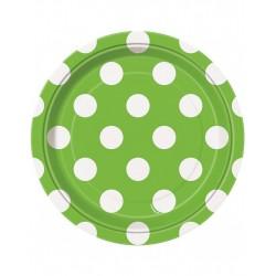 Bordjes groen met witte stippen 8 stuks met een doorsnede van 18 cm