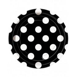 Bordjes zwart met witte stippen 8 stuks met een doorsnede van 18 cm
