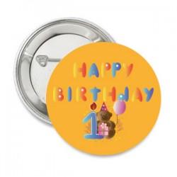 Button Beregoede 1e verjaardag met eigen tekst