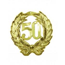 Goudkleurig plastic decoratie bord 50 jaar