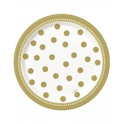 Happy Birthday goud bordjes met een doorsnede van 18 cm