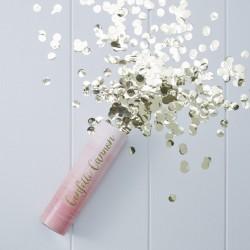 Confetti cannon roze ombre met gouden rondjes