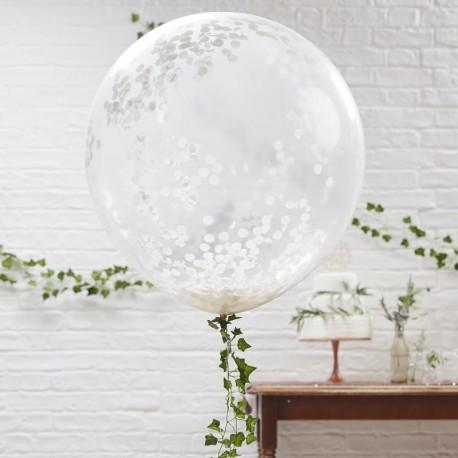 Pak Met Drie Mega Grote Ronde Met Witte Confetti Gevulde Ballonnen