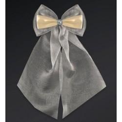 Pak met 2 ivoorkleurige strikken gemaakt van organza en satijn met een zilverkleurige bloemetje