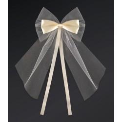 Pak met 2 ivoorkleurige strikken gemaakt van satijn met tule