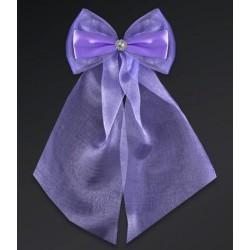 Pak met 2 lila strikken gemaakt van organza en satijn met een zilverkleurige bloemetje