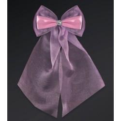 Pak met 2 roze strikken gemaakt van organza en satijn met een zilverkleurige bloemetje