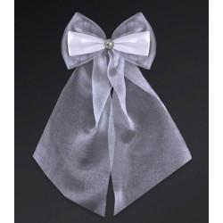 Pak met 2 witte strikken gemaakt van organza en satijn met een zilverkleurig bloemetje