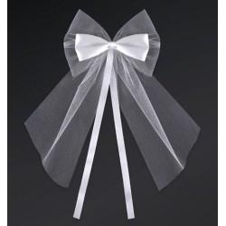 Pak met 2 witte strikken gemaakt van satijn met tule