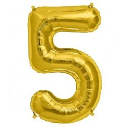 Cijfer folie ballon XL van 0 t/m 9 goud
