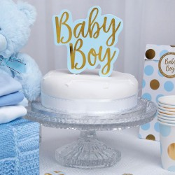 Baby Boy Taarttopping met gouden letters op een blauwe achtergrond