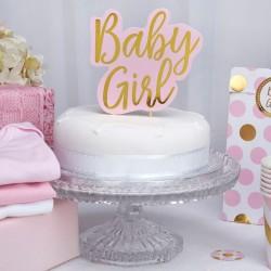 Baby Girl Taarttopping met gouden letters op een roze achtergrond