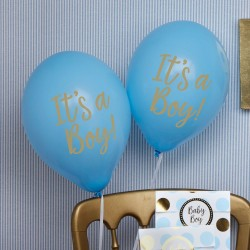 Baby ballon gold pattern blue