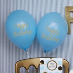 Baby ballon gold pattern blue verjaardag