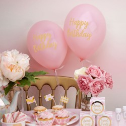 Baby ballon gold pattern pink verjaardag