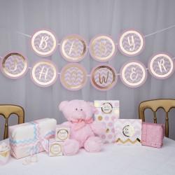 Prachtige, originele letterslinger Babyshower gold pattern roze